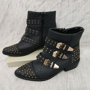 Yoku Studded Black and Gold Ankle Boots Si…